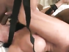 Mature w big tits Sally D'Angelo leg spreading for 2 bbcs