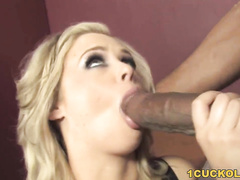 Real husband watches his blonde pornstar wife gets fucked hard