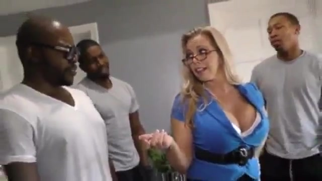 White blonde cougar mom gets bbc gangbang