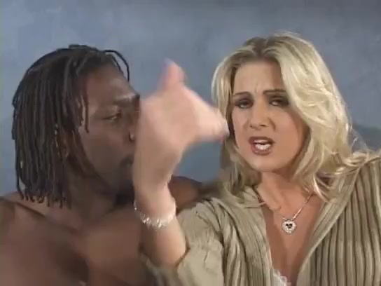 Blonde white wife in lingerie gets bbc interracial anal