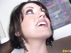 White brunette wife gets anal and DP by two BBC's