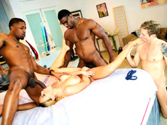 White blonde wife w two black bulls in front of husband